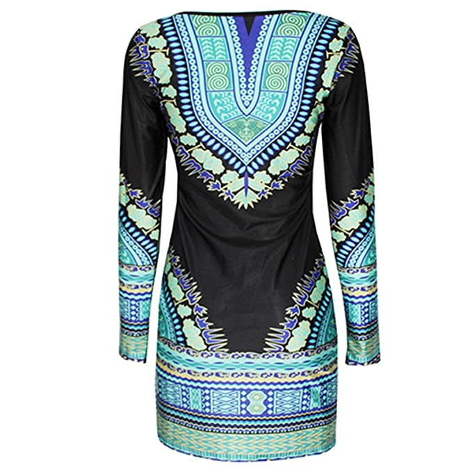 4df19550d9d Amazon.com  Shineweb Women Traditional African Print Dashiki Bodycon Sexy  Short Sleeve Dress  Clothing