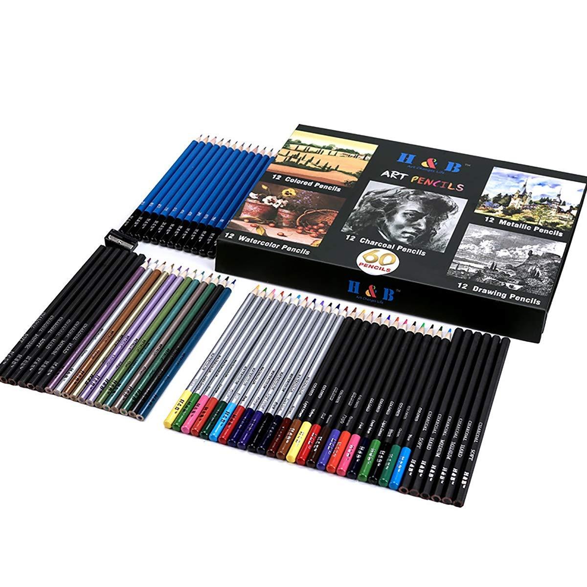 Jhcpca 60鉛筆色鉛筆水可溶性色鉛金属色鉛炭チャレンジスケッチ鉛筆セット (Color : HB-CPCB60HB)  HB-CPCB60HB B07MQZJ6WR