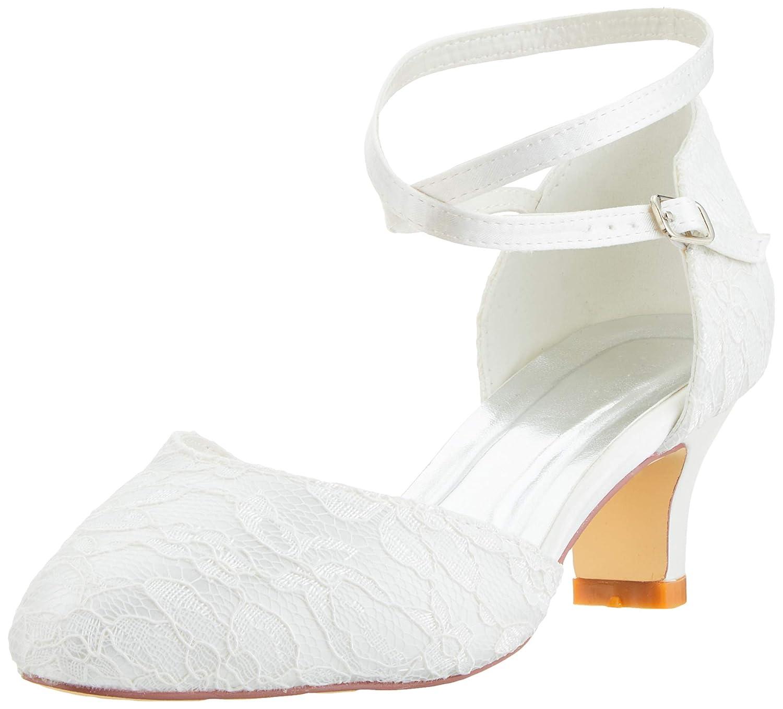 Mrs White 00967A Scarpe da Sposa Donna Raso Pizzo Punta Chiusa Pompe Scarpe Col Tacco Donna