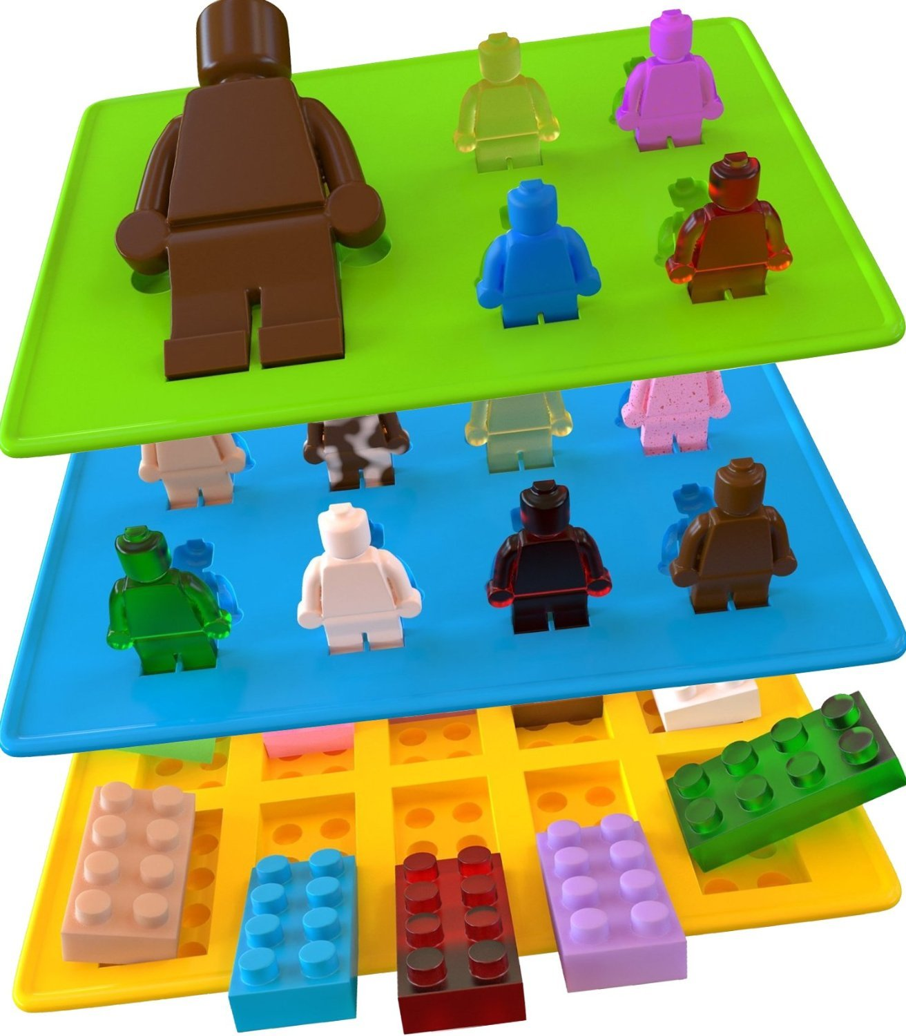 Yellow Building Brick & Blue & Green Multi-size Minifigure Silicone Ice Tray Candy Mold Set (Blue/Green/Yellow, 1) Charmed