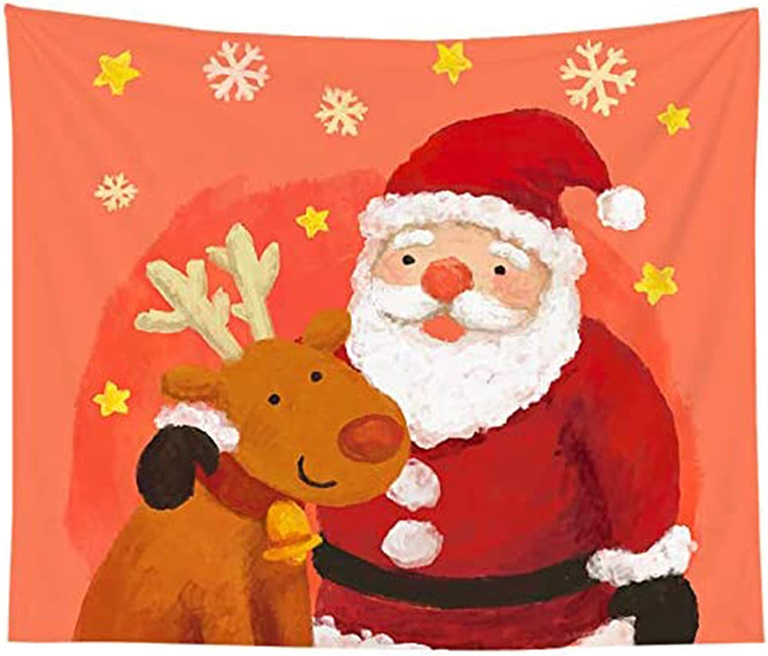 HVEST Christmas Tapestry Santa Claus and Cute Deer Wall Hanging Tapestries,59Wx51H Inches Watercolor Painting Tapestry for Bedroom Living Room Dorm Xmas Holiday Party Teen Room Indie Decor Blanket