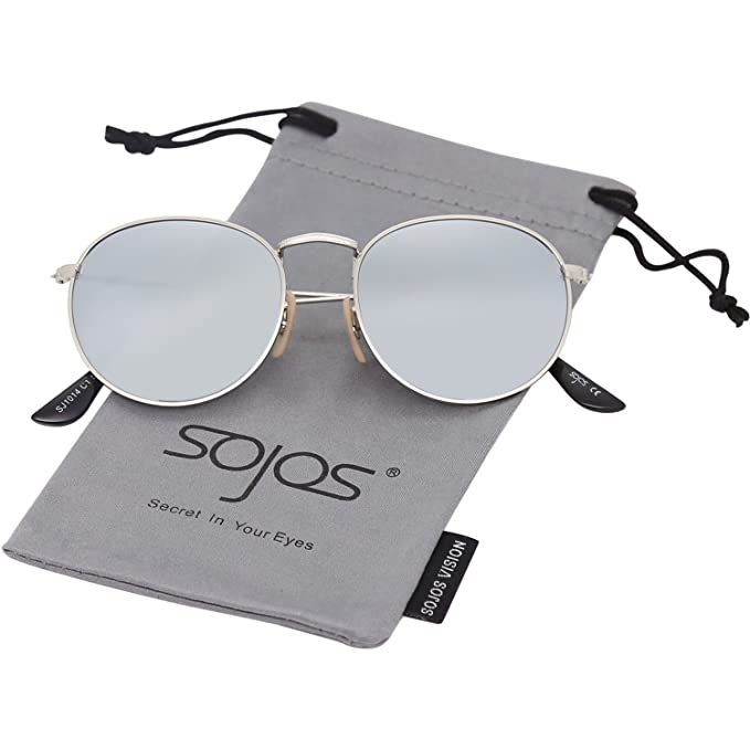 6e8924bab6 SOJOS Small Round Polarized Sunglasses Mirrored Lens Unisex Glasses SJ1014  3447 with Silver Frame Silver
