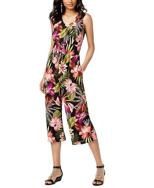 03b90b44dda Amazon.com  Thalia Sodi Floral-Print Cropped Jumpsuit (Black Combo ...
