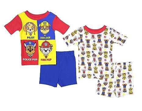 a9df0381e3 Paw Patrol Little Boys  Toddler Charcter Print Four-Piece Snug Fit Pajama  Short Set