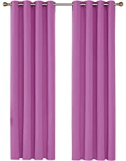 Deconovo Pair of Solid Super Soft Thermal Insulated Eyelet Blackout Curtains, Multiple Sizes and Colours