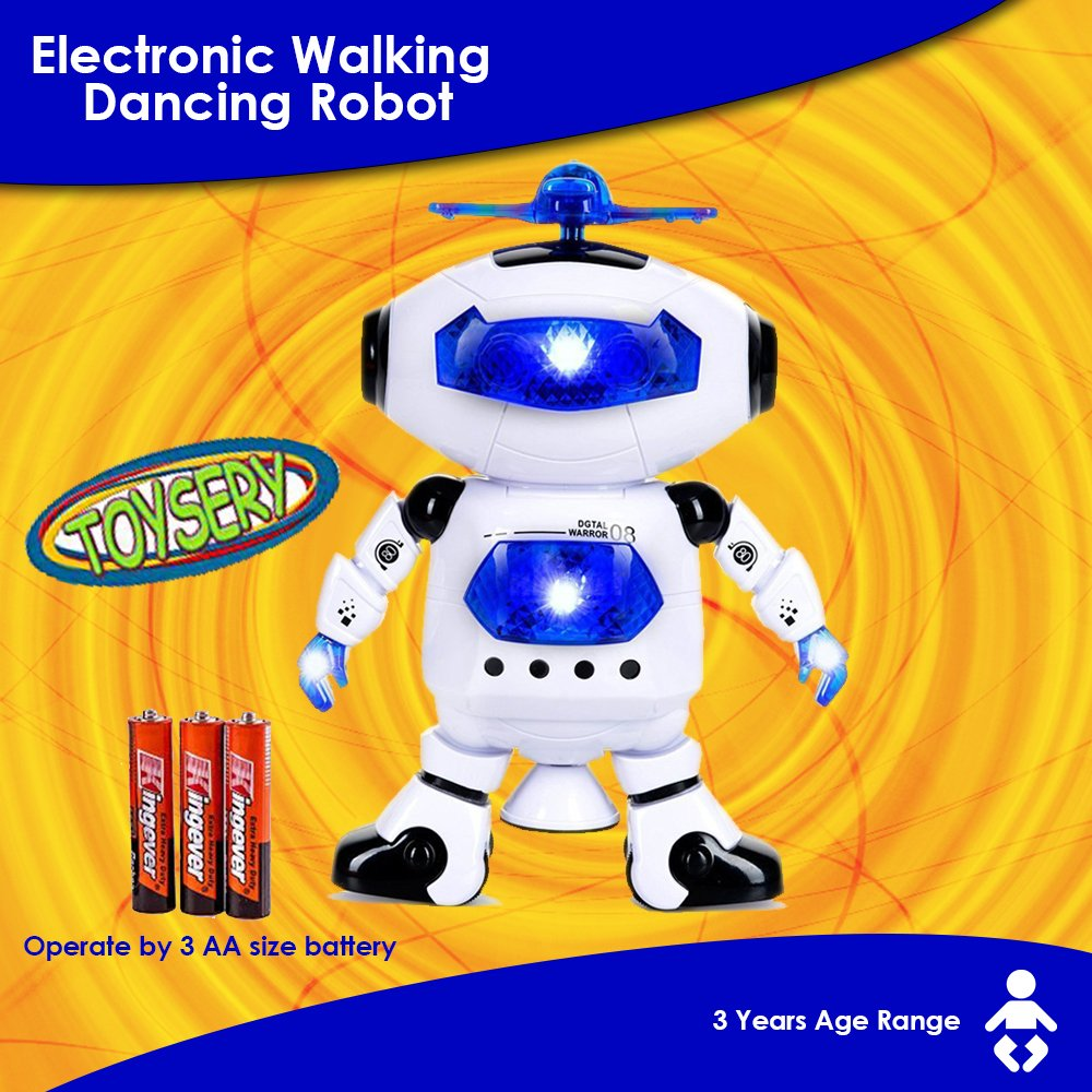 Toysery Electronic Walking Dancing Robot Toys With Music Lightening For Kids Boys Girls Toddlers, Battery Operated Included by  Toysery (Image #7)
