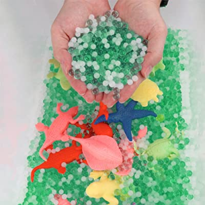 LEOKON Green&White Water Beads Ocean Explorers Tactile Sensory Kit - Mini Jungle Animals Toys Set Included (Upgrade): Toys & Games