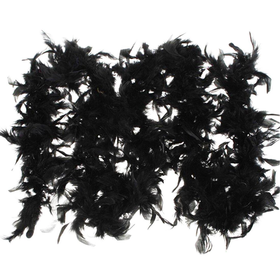 Saihui Fancy Dress Feather Boa Burlesque Showgirl Hen Night Accessory Festival Ornamental Scarf-Available in 7 colors Black