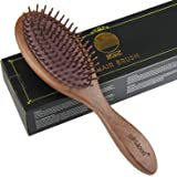 BFWood Wooden Paddle Hairbrush – Black Walnut Hair Brush with Air Hole, Reduce Frizz and Massage Scalp