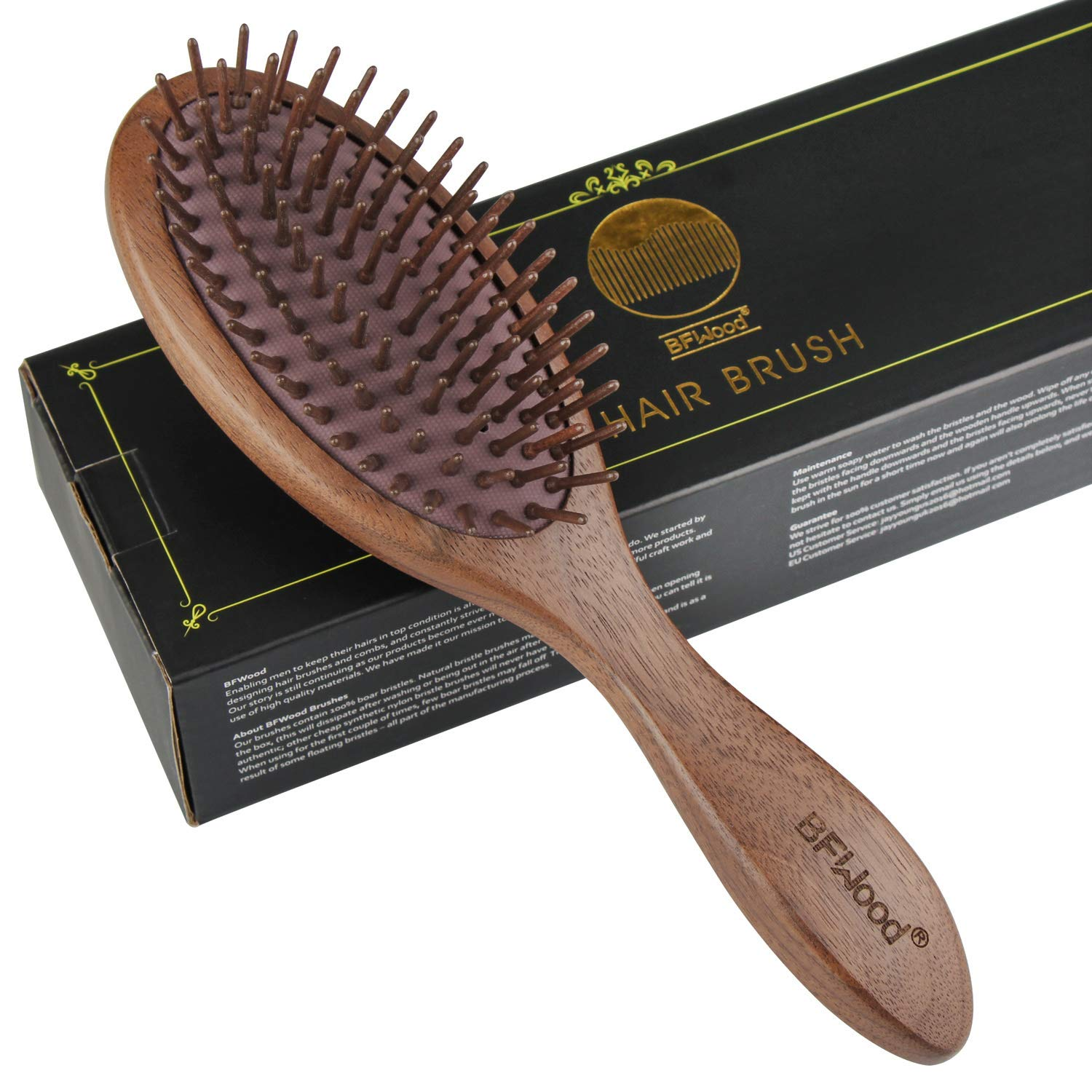 Best wooden bristle hair brush – Black Walnut Hairbrush for Massaging Scalp