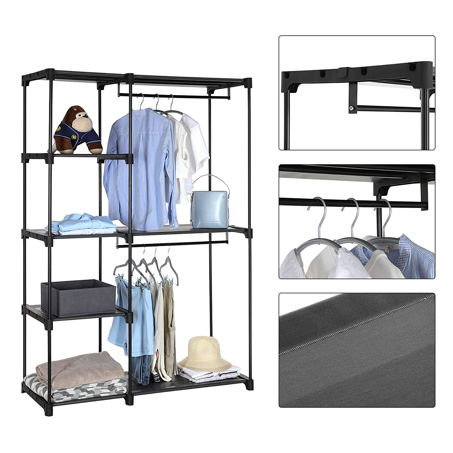 Study 112 x 43 x 165 cm SONGMICS Freestanding Wardrobe Storage Organiser Clothes Rack Stable Bedroom Black RYG24BK Cloakroom Foldable Closet Coat Rack with Clothes Rails