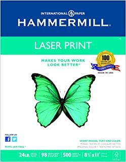product image for Hammermill Paper, Laser Print, 24lb, 8.5 x 11, Letter, 98 Bright, 500 Sheets/1 Ream (104604), Made in the USA (500 Sheets (4))