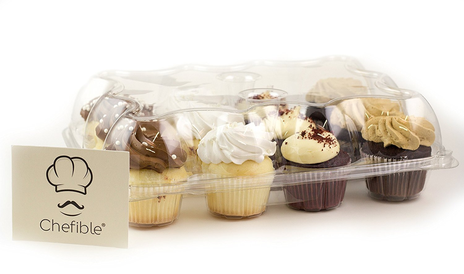 Chefible 12 Cupcake Container Cupcake Box High Dome - Set of 100 by Chefible®