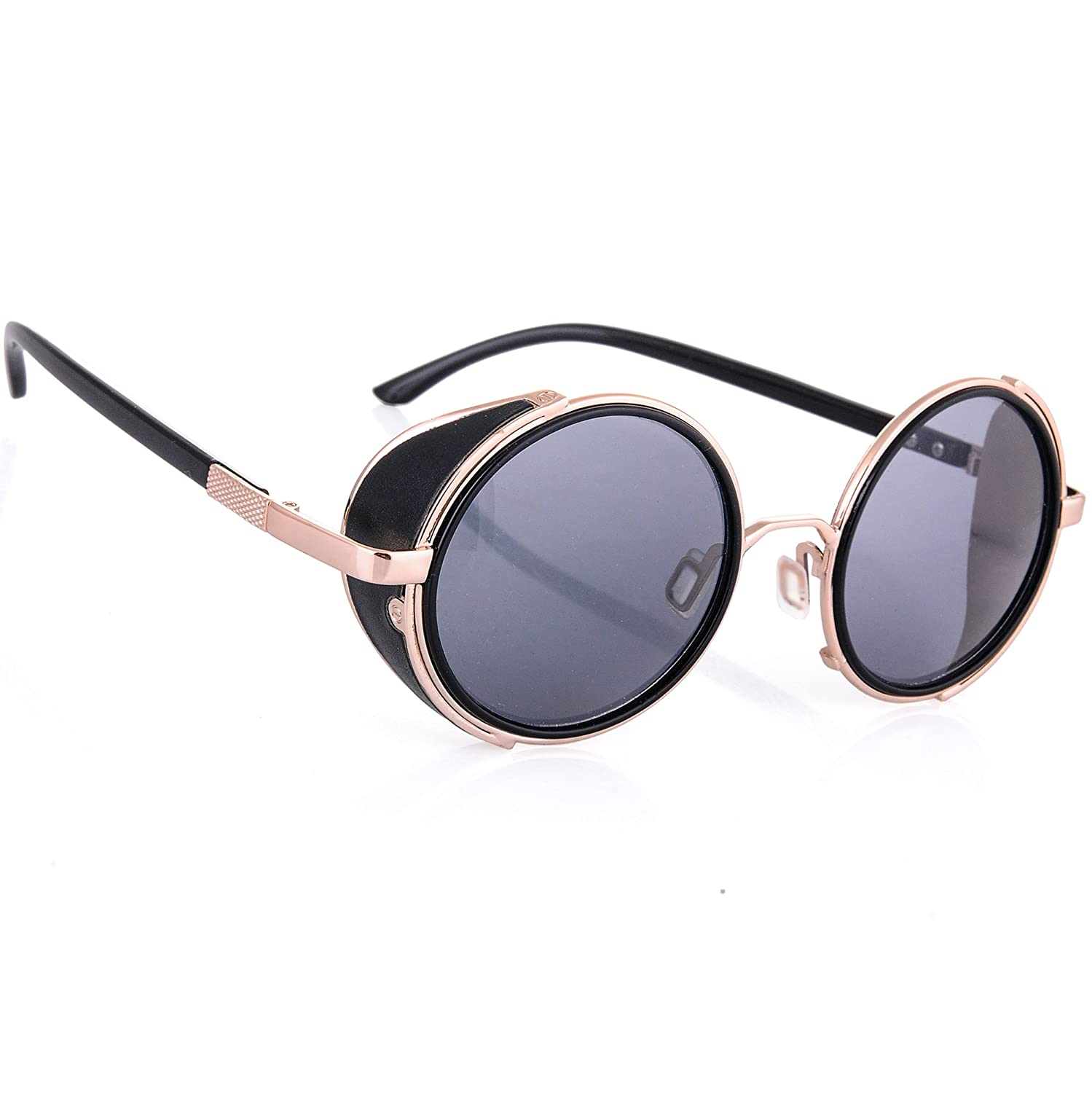 2195da10bb8 Steampunk Sunglasses Mirrored 50s Round Glasses Cyber Goggles Vintage Retro  Hippy Style Men s Women s Original Mirror Lens MFAZ Morefaz Ltd  (Black Gold)  ...