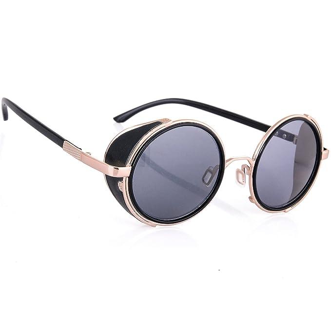 bc5db7c3e30f Steampunk Sunglasses Mirrored 50s Round Glasses Cyber Goggles Vintage Retro  Hippy Style Men's Women's Original Mirror