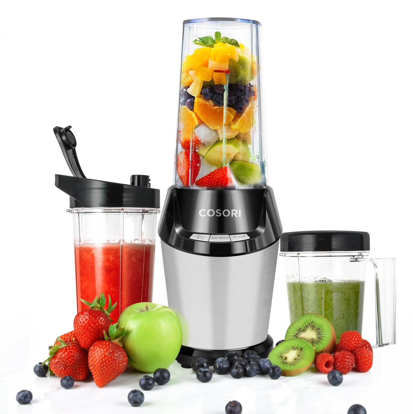 COSORI Smoothie Blender, Smoothie Blender for Shakes and Smoothies, Personal Blender Maker Single Serve with Cleaning Brush, Three Large Tritan Travel Cups(2x32 oz and 1x24 oz)