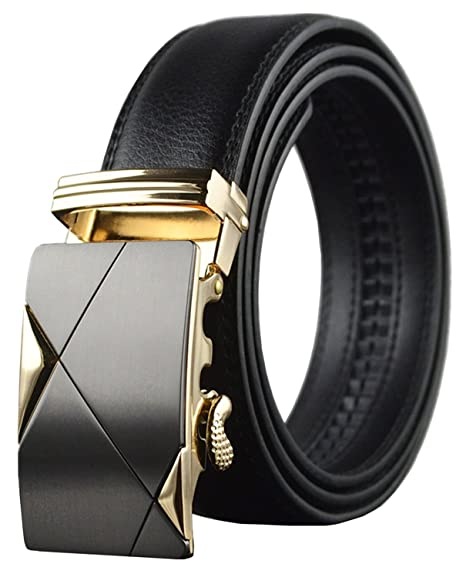 e8ffbd6d1cab OMIAX Men s Leather Ratchet Automatic Solid Buckle Adjustable Belt without  Holes (Free Size)