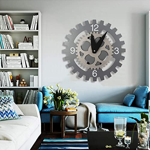 AHUA Smart 3D Gear Mechanical Clock,Gear Wall Clock, Big Wheel Hour Wall Clock, Vintage Industrial Wheel Wall Background Decoration, 14 Modern Silent Non Ticking Wall Clock – Silver Sawtooth Wheel