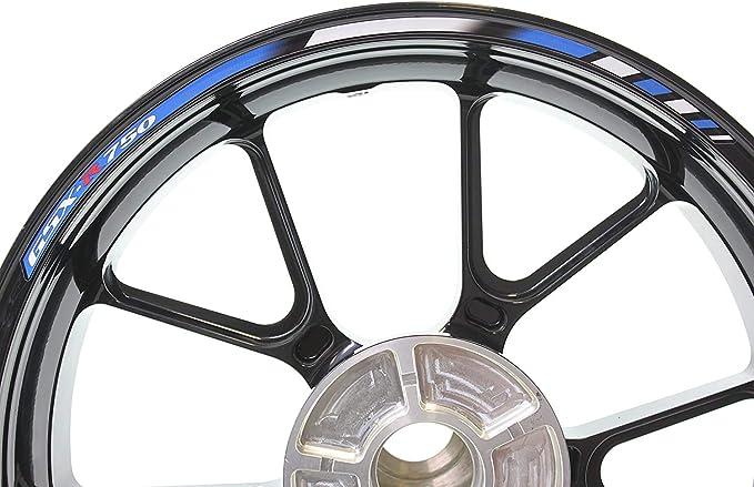 Impressiata Suzuki Gsx R 750 Motorrad Felgenrandaufkleber Specialgp Blau Komplettset Aufkleber Sticker Auto