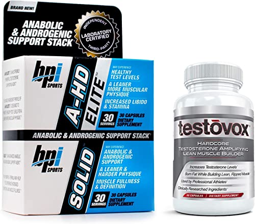 A-HD Elite Solid with Testovox – Most Advanced Testosterone Boosting, Muscle Building Bundle for Men Jump Start Your Libido, Stamina Sexual Performance Burn Fat Boost Metabolism