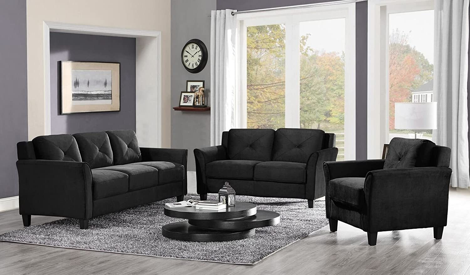 Amazon.com: Pearington Merango Microfiber Living Room Sofa, Black ...