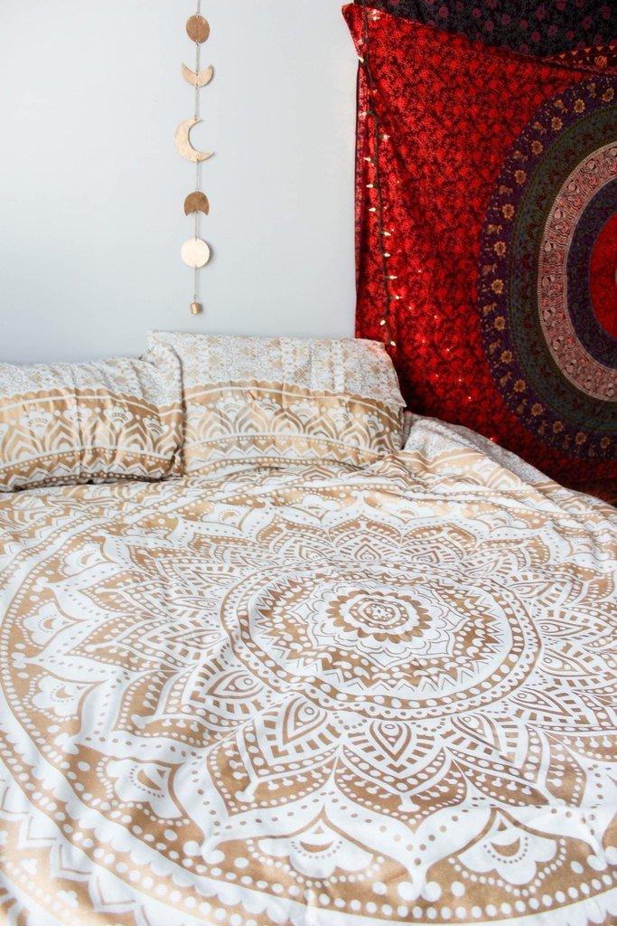 Popular Handicrafts Th553 original Gold Ombre Tapestry Indian Mandala Wall Art, Hippie Wall Hanging, Bohemian Bedspread With Metallic Shine 84''x90''