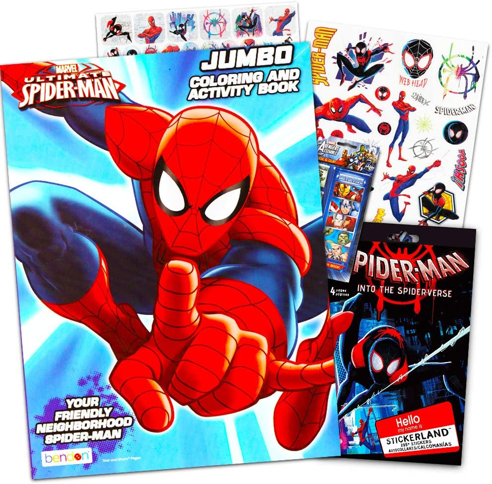 Marvel Spiderman Coloring Book with Over 270 Spiderman Stickers /& Bonus Superhero Sticker Bendon Publishing