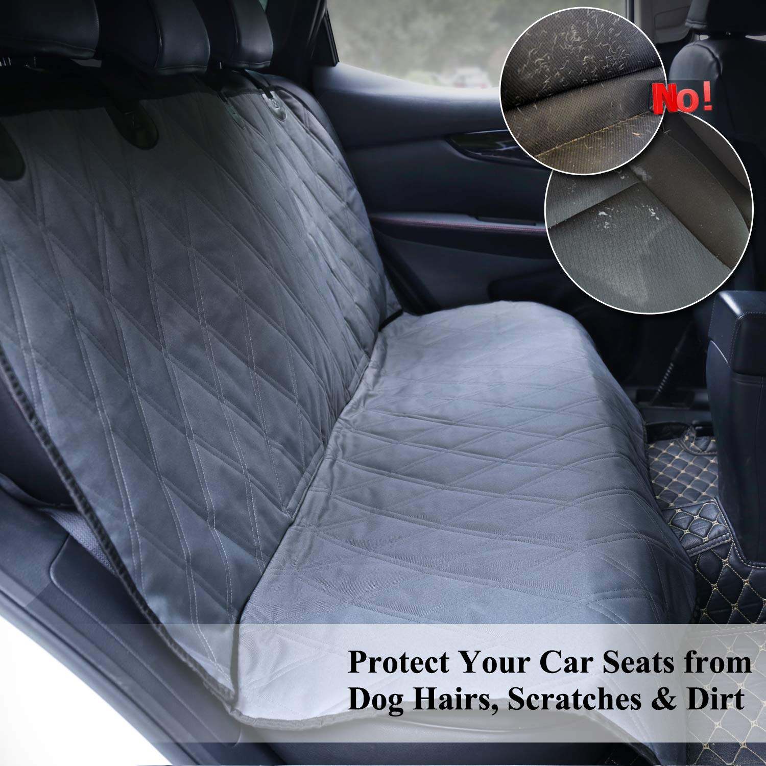 S Quilted 600D Oxford Pet Seat Cover SUVs /& MPVs No-skirt Design Car Seats Covers for Small /& Large Cars Vivaglory Dog Car Seat Protectors Grey