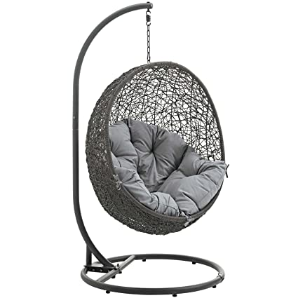modway hide outdoor patio swing chair gray - Patio Swing Chair