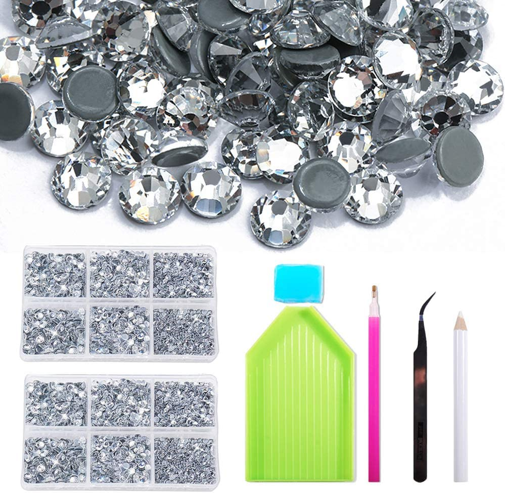Red Facerain Hotfix Rhinestones 2 Boxs SS6-SS30 5052 pcs Mixed 6 Sizes Crystal Hot Fix Crystals Kits Set Flatback Rhinestone Crystals for Bedazzler Crafts Clothes Shoes DIY Decoration Siam