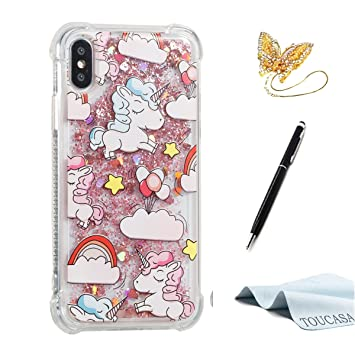 ... Gel Protectora Carcasa,Funda Móvil Case Líquido Quicksand Anti-arañazos Brillante Case Cover para iPhone X-Unicornio: Amazon.es: Electrónica
