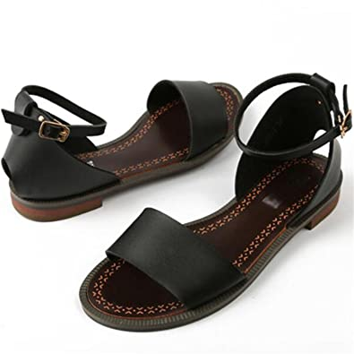 Ladies Women/'s Gladiator Sandals Summer Beach Flat Heel PU Leather Shoes Sizes