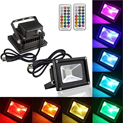 2 Pack RGB Flood Light, RF Colors Changing 10W LED Spotlight with Remote Control, Dimmable Outdoor Lighting Waterproof Security Light with 13 Colours and 4 Modes for Decoration