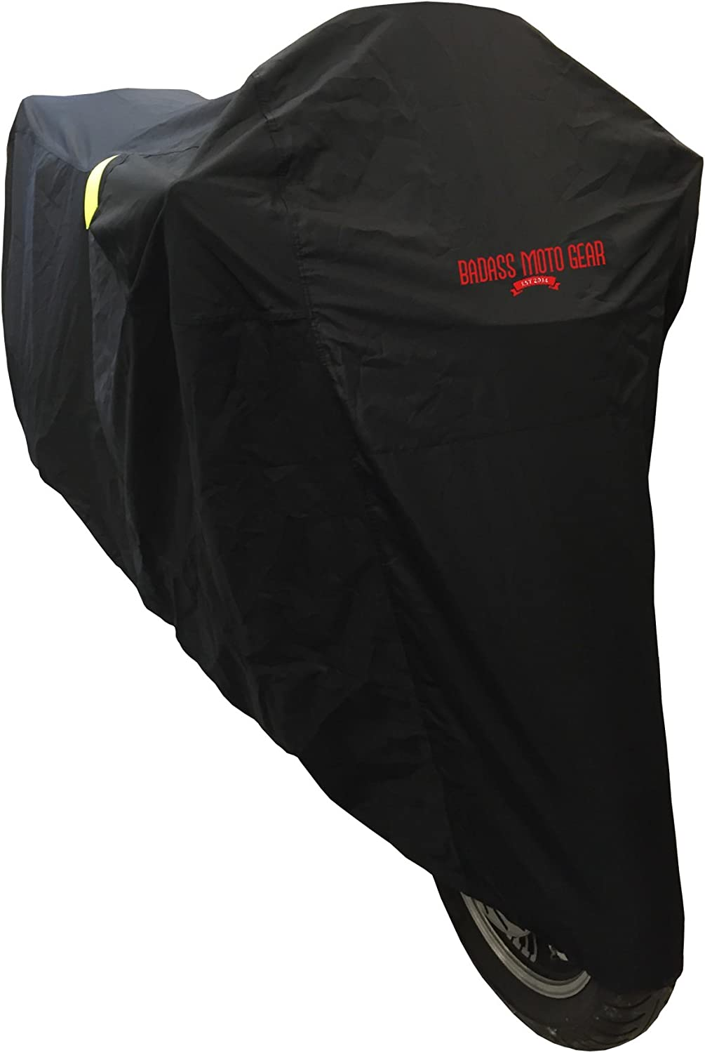 Ultimate Waterproof Motorcycle Cover - Outdoor Storage Motorcycle Covers for Harleys - Street or Sport Bike. Taped Seams, Windshield Liner, Heat Shield, Vents, Reflective, Grommets, Alarm Pockets, SM