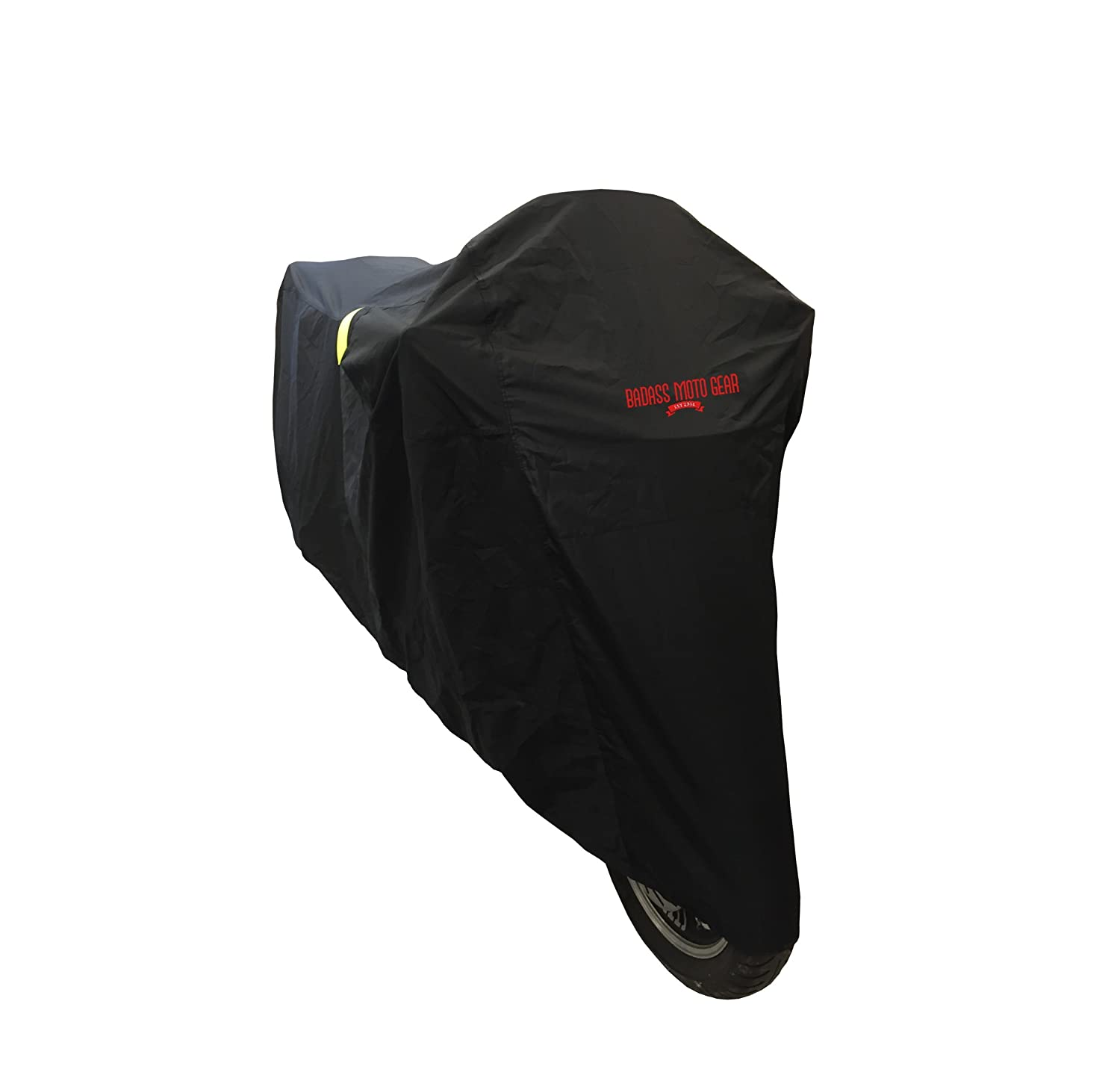 """Badass Moto Gear Ultimate Waterproof Motorcycle Cover. Heavy Duty, Night Reflective, Windshield Liner, Heat Shield, Vents, Lock Pocket, Taped Seams (108"""" Full Dressers, Goldwing, Tourers) EXTRA LARGE"""