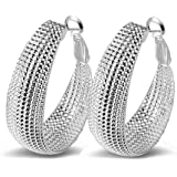 Nikgic Punk Hoop Earrings Ear Hoop Earrings Sterling Silvery Earrings Ear Stud Earring Gifts Lady