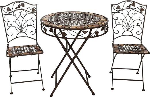 aubaho Mesa y 2 sillas de Hierro Forjado de Hierro Muebles de ...