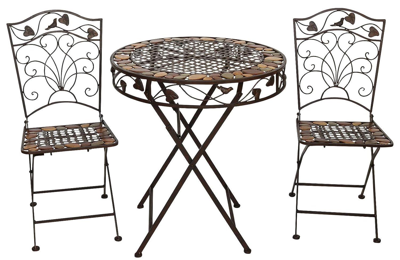 Amazon.de: aubaho Gartentisch und 2 Stühle Eisen Schmiedeeisen antik ...