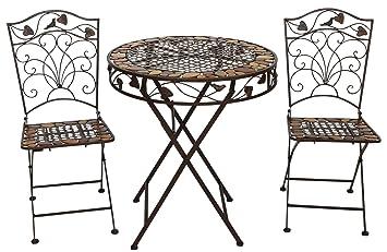 Mesa y 2 sillas de hierro forjado de hierro muebles de jardín de piedra marrón: Amazon.es: Jardín