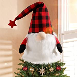 EPLST Gnome Christmas Tree Topper, 27 Inch Handmade Christmas Gnome Large Swedish Tomte Gnome Christmas Ornaments Santa Gnomes Plush Scandinavian Christmas Decorations Holiday Home Décor Grey