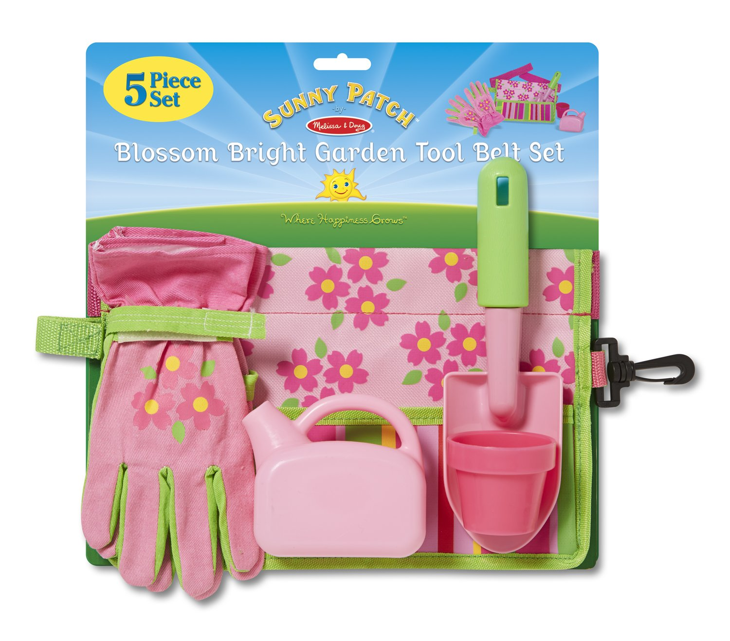 Amazon.com: Melissa U0026 Doug Sunny Patch Blossom Bright Garden Tool Belt Set  With Gloves, Trowel, Watering Can, And Pot: Melissa U0026 Doug: Toys U0026 Games