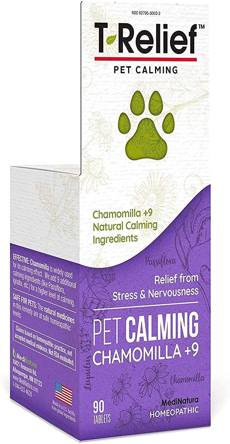 MediNatura T-Relief Pet Calming with Chamomile + 9 Calming Actives - 90 Tablet