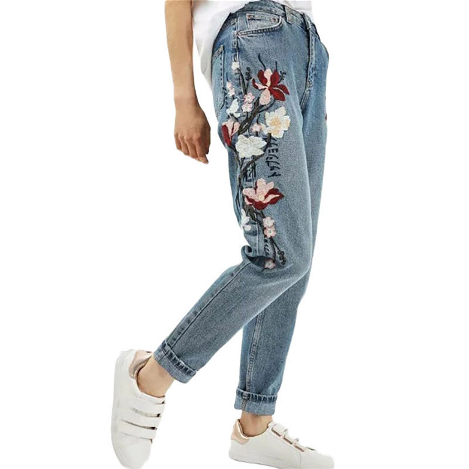 Hoared Casual Vintage Embroidered Flowers Jeans Woman Bottoms Pants 2017 Fashion Long Pants Sale