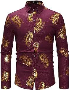 Camisas casuales con botones para hombres Camisa de manga larga casual estilo vintage con estampado británico Camisa formal elástica Slim Fit para hombre Casu (Color : Vino rojo , tamaño :