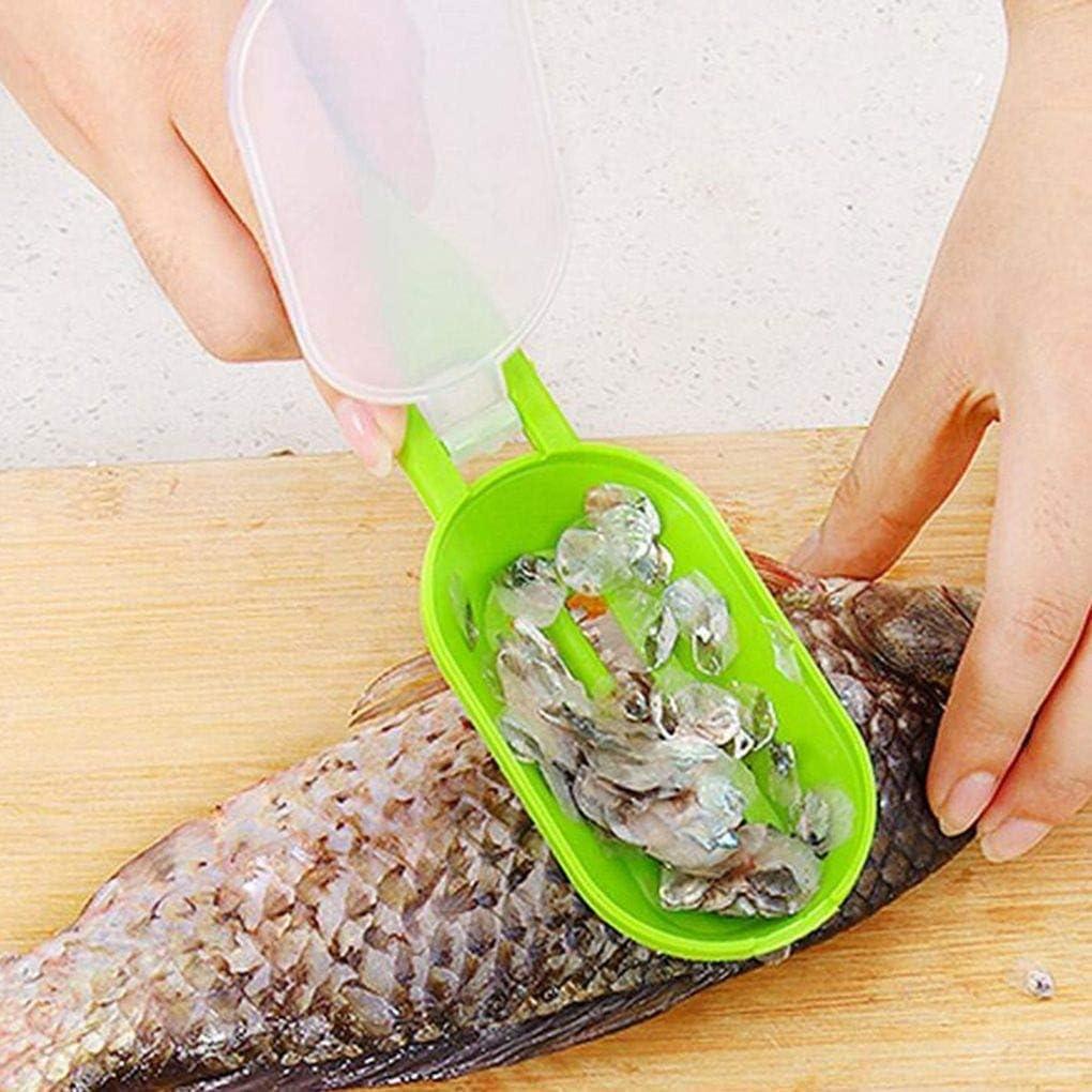 nobrand Tragbarer Fischschuppen-Haut-Remover-Scaler schnelle Reinigung Fisch-Haut-Edelstahl-Schaber Küchen reinigen Schäler-Werkzeug (Color : 3) 2