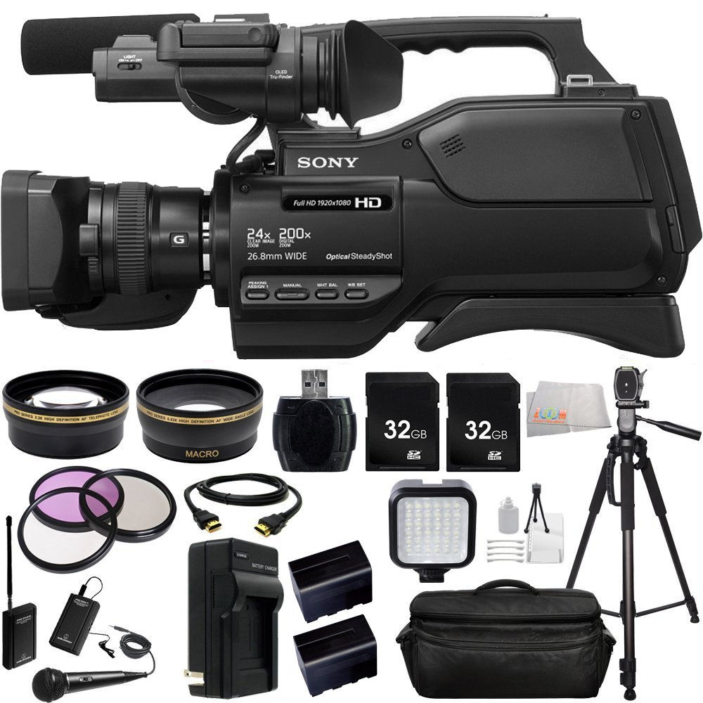 Sony HXRMC2500 HXR-MC2500 Shoulder Mount AVCHD Camcorder with 3-Inch LCD (Black) + Audio-Technica ATR288W VHF TwinMic System, .43x Wide Angle Lens, 2.2x Telephoto Lens, 3 Piece Multi-Coated Filter Kit, 2x 32GB SD Memory Cards, LED Video Light + MORE