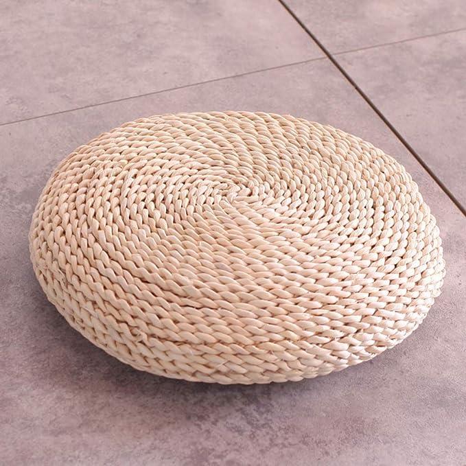 CAIXIN Ammortizzazione Seduta A Mano Tatami Pad,Eco-Friendly Traspirabilit/à Giapponese Paglia Tessuta Rotondo Natura Zen Yoga Meditazione Futon Opaco-a Diametro30cm 12inch