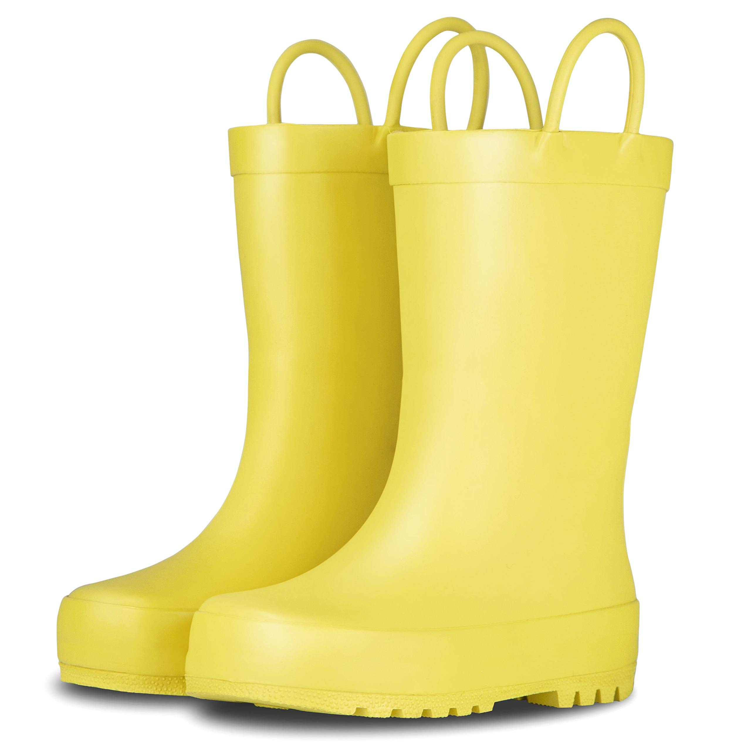 LONECONE Elementary Collection - Matte Rain Boots with Easy-On Handles for Toddlers and Kids, Sunshine Yellow, Toddler 7