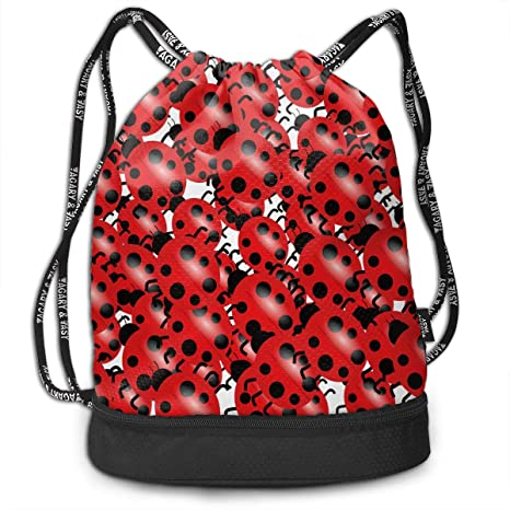 6bfc102d8b25 Amazon.com: HUOPR5Q Ladybug Drawstring Backpack Sport Gym Sack ...
