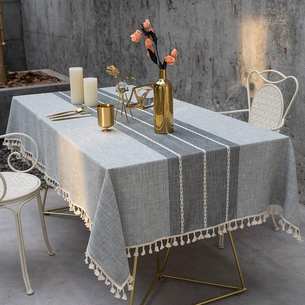 TEWENE Table Cloth, Wrinkle Free Stitching Tassel Tablecloth Cotton Linen Round Table Cloths Washable Tablecloths for Round Tables Anti-Fading Table Cover for Dining Kitchen (Round/55 inch/Grey)